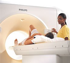 Patient undergoing a CT scan