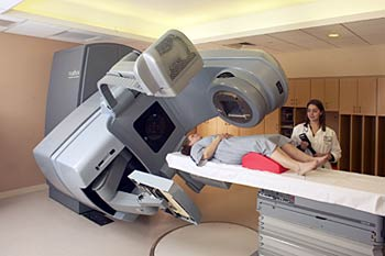 Patient receiving radiation at The Cancer Center at Milford Regional.