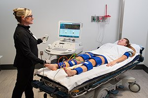 patient in vascular lab being tested