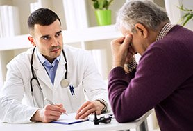 doctor and patient talking about prostate screening