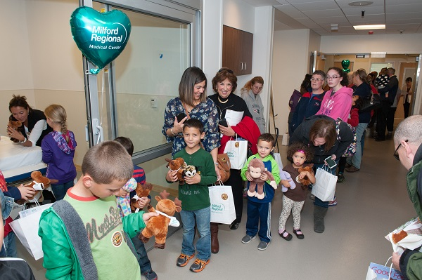 People waiting to visit the teddy bear clinic