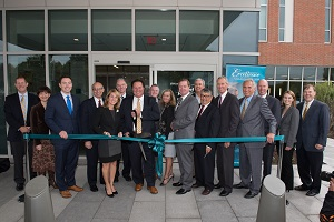 Ribbon cutting ceremony for new building