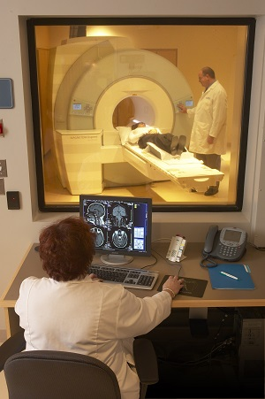 Patient receiving MRI at The Cancer Center